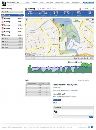 Runkeeper's Web Interface: Many many features