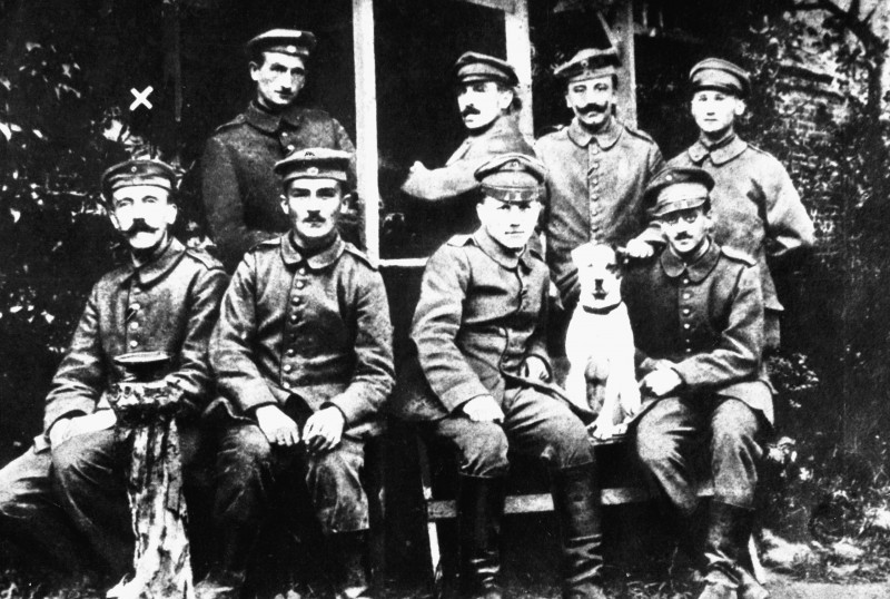 The end of WW1 saw a suppressed Germany and Hitler (leftmost) that were motivators of WW2.