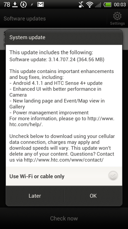 One X's Android 4.1.1 Update Notification