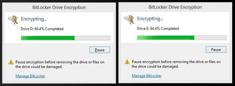The Encryption Process: You can encrypt multiple drives at the same time.