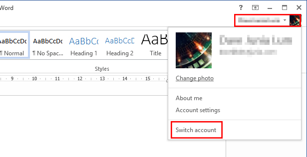 Switch Account: Buy Office with one account and use other accounts with it.