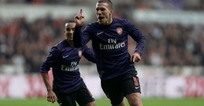 Poldi does what Walcott tried so hard to do all game.