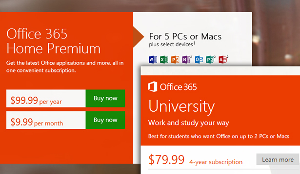 Office 365: Pricing that makes sense for a new generation of Office.