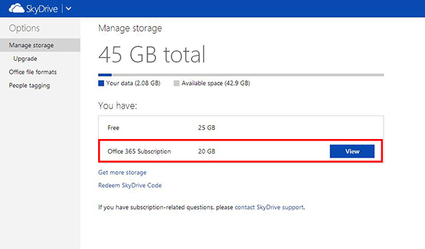 Additional 20gb is automatically added to your SkyDrive.