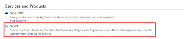 This link allows you to activate free 60mins/month of Skype calls.