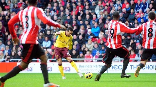 Cazorla nets the winner in the first half.