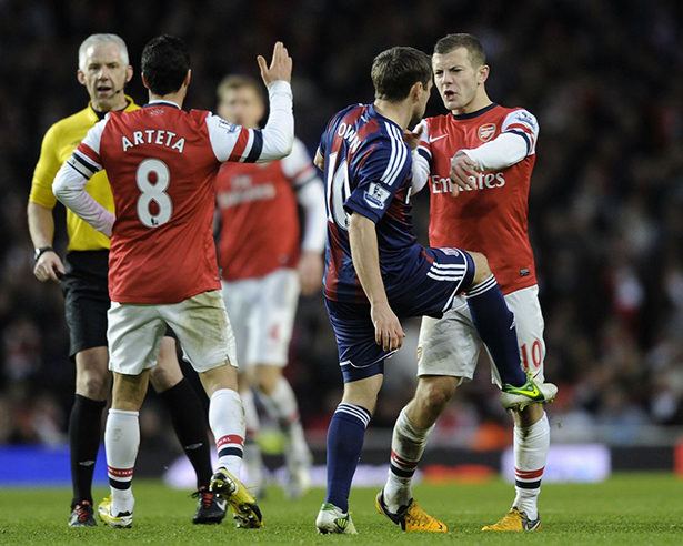 Scuffle between Owen and Wilshere after an incident with Arteta. (Credit: Stuart MacFarlane)
