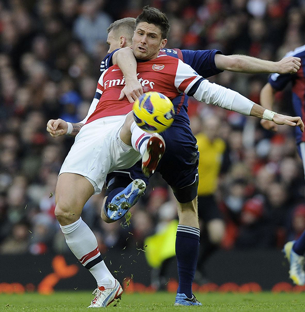 Giroud: Tightly marked and didn't make it count when chances came. (Credit: Stuart MacFarlane)