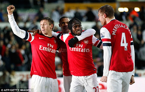 Gervinho congratulated for sealing the win without fuss.