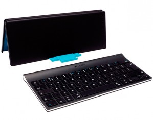 The Logitech Tablet Keyboard comes with a cover that converts into a stand.
