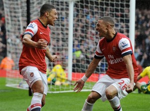 The Ox celebrates creating the winning goal.