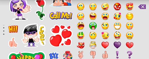 Stickers and emoticons on the Android client.